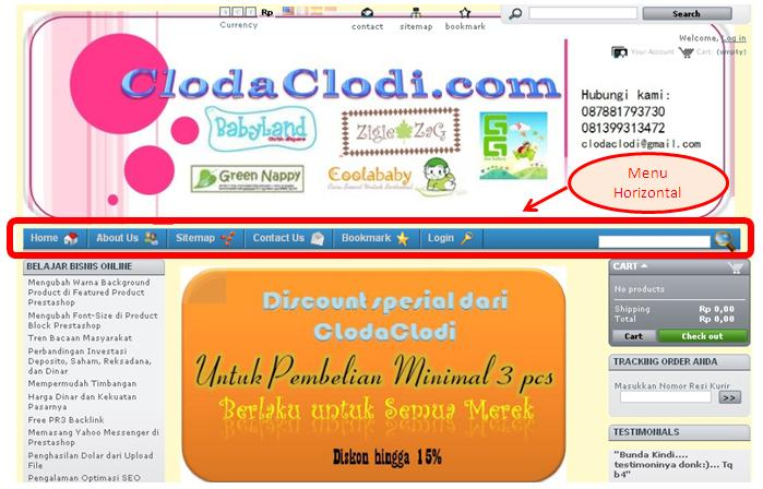 Cara Membuat Menu Horizontal di Prestashop