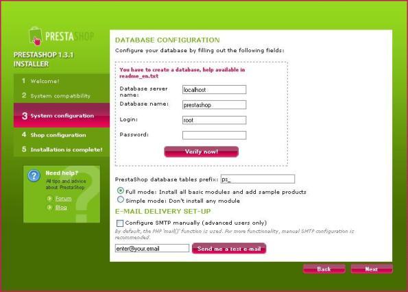 instalasi PS step 3: database config
