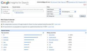 Tampilan depan Google Insights